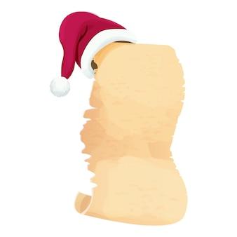 Zwój pergaminu pusty świąteczny list z santa hat w stylu cartoon