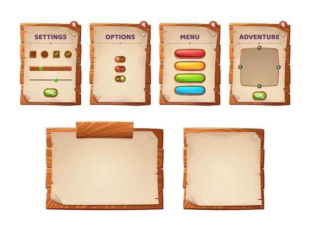 Zwoje interfejsu gry, drewniane deski i antyczne pergaminy interfejs menu kreskówek, drewniane teksturowane deski, elementy graficzne gui. panel użytkownika z ustawieniami, opcjami lub zestawem izolowanych wektorów 2d przygodowych