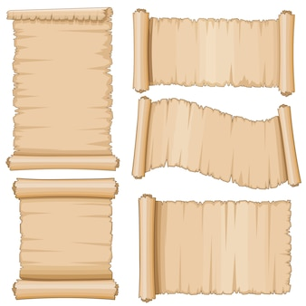 Zwoje starożytnego pergaminu. wieku przewijanie czysty papier
