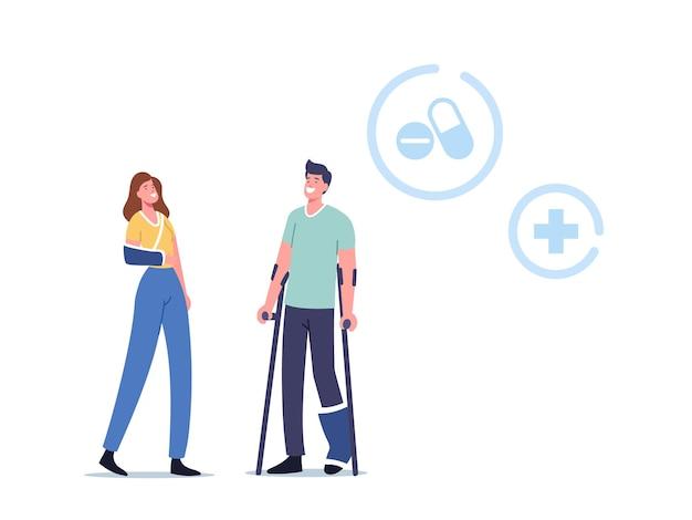 Zwolnienie chorobowe, medycyna opieki zdrowotnej, koncepcja terapii. postacie męskie i żeńskie z ortopedycznym bandażem na nodze i nadgarstku odwiedzając klinikę ortopedyczną lub szpital. ilustracja wektorowa kreskówka ludzie