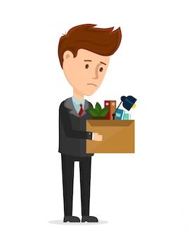 Zwolnienie sfrustrowane. biznesmen zostaje zwolniony z biurowego biura ze skrzynką. ikona ilustracja kreskówka nowoczesny modny płaski charakter. jesteś zwolniony, redukcja zatrudnienia, kryzys