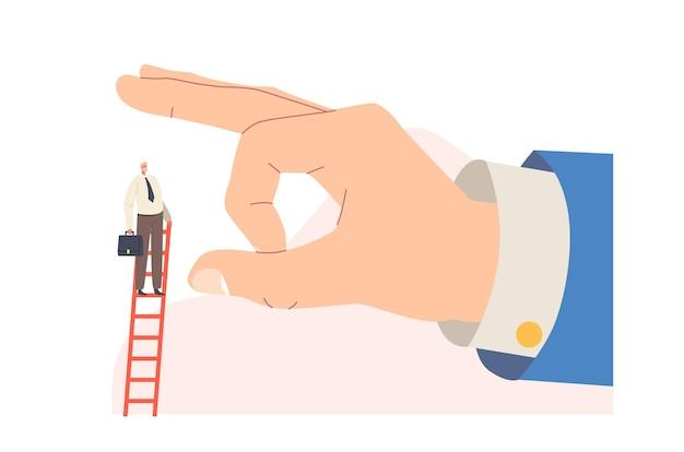 Zwolnienie, zdrada biznesowa, wielka ręka próbująca rzucić mały biznesmen stojący na szczycie drabiny. zazdrość i nieetyczna postać partnera metafora zagrożenia kariery. ilustracja wektorowa kreskówka ludzie