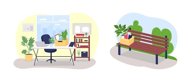 Zwolniony z pracy 2d baner internetowy wektor, zestaw plakatów. biurko z pudełkiem papeterii płaskiej scenerii na tle kreskówki. łatka do nadruku dla bezrobotnych, kolorowa kolekcja elementów internetowych