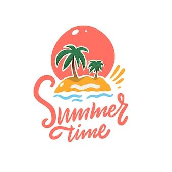 Zwrot czasu letniego i palmy, zachód słońca i piasek. ilustracja wektorowa kolorowe. odosobniony
