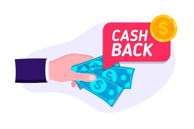 Zwrot gotówki. oszczędzać pieniądze. zwrot pieniędzy. koncepcja programu lojalnościowego. symbol zwrotu gotówki bonusowej. usługa zwrotu pieniędzy