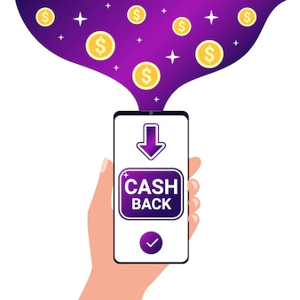 Zwrot gotówki. zwrot pieniędzy, zwrot gotówki na smartfona. nagradzanie, premia, pieniądze, zysk, koncepcja zwrotu.