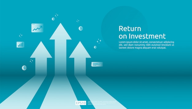 Zwrot z inwestycji, koncepcja możliwości zysku. strzały wzrostu biznesu do sukcesu. strzałka z dolara, wzrost roślin, wykres i wykres.