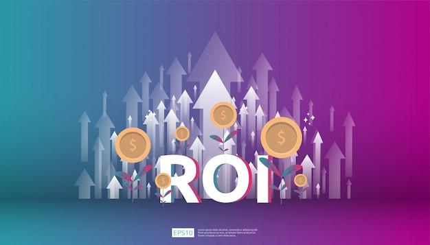 Zwrot z inwestycji, koncepcja możliwości zysku. strzały wzrostu biznesu do sukcesu. tekst roi z sukcesem strzałka wykres wykres wzrost i wzrost monety monety dolara.