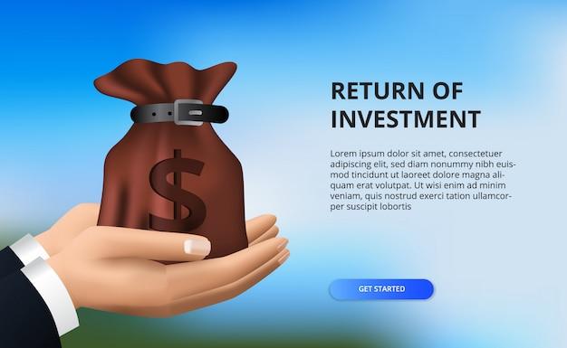 Zwrot z inwestycji, koncepcja możliwości zysku. wzrost finansów przedsiębiorstw do sukcesu. ręka trzyma worek pieniędzy