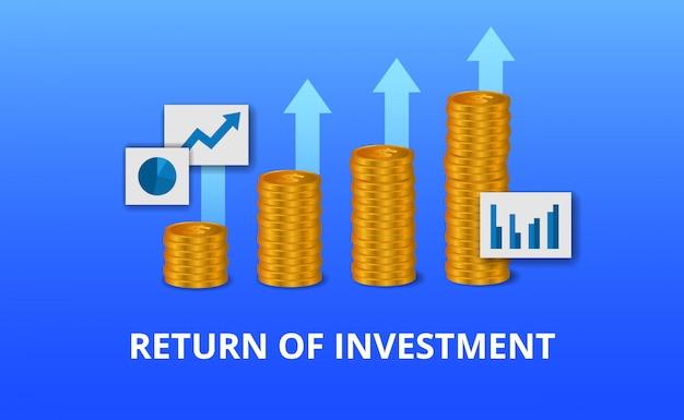 Zwrot z inwestycji, koncepcja możliwości zysku. wzrost finansów przedsiębiorstw do sukcesu. wykres strzałki złotej monety