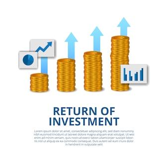 Zwrot z inwestycji pojęcie biznesu finanse wzrost strzałka sukces