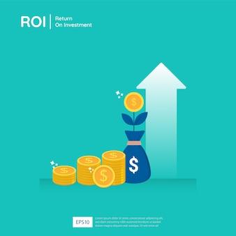 Zwrot z inwestycji w strzałki wzrostu biznesu prowadzące do sukcesu.
