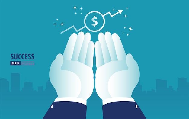 Zwrot z inwestycji, wykres i wykres roi, biznes, zysk i sukces pod ręką. biznesowa wektorowa ilustracja