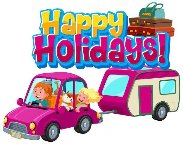 Zwroty na wesołe wakacje z ludźmi jadącymi samochodem