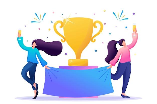 Zwycięskie dziewczyny świętują zwycięstwo, zwycięzcy szampanem.