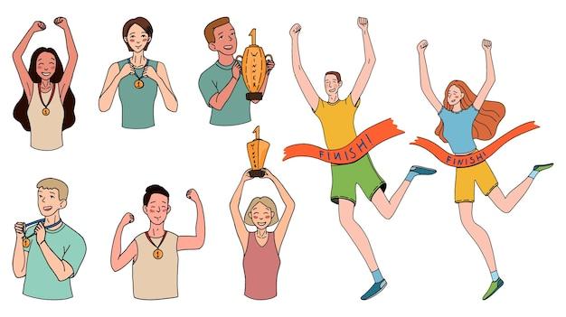 Zwycięskie kobiety i mężczyźni, biegnący do mety, trzymający puchary i medale. koncepcja ludzie zwycięzcy. zestaw ręcznie rysowane ilustracje wektorowe. kolorowe rysunki doodle w prostym stylu na białym tle.