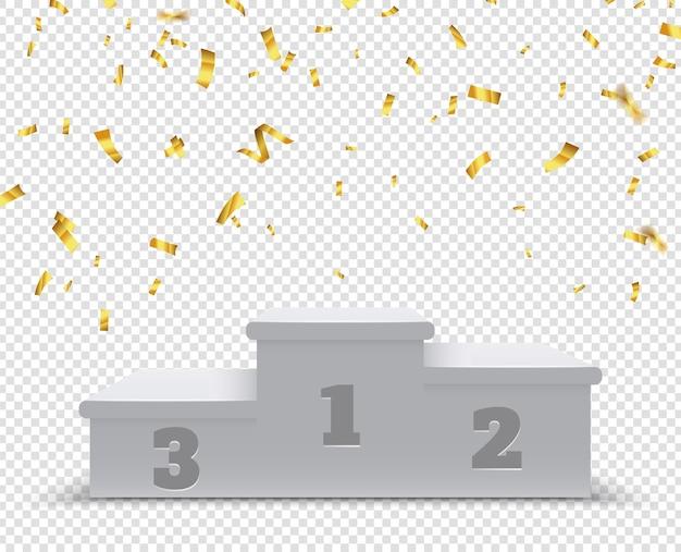 Zwycięskie podium. cokół zwycięzców sportu, stopnie 3d. stojak lub platforma na trofea ze złotym konfetti. ilustracja na białym tle zwycięstwo. uroczystość na podium zawodów, etap mistrzowski