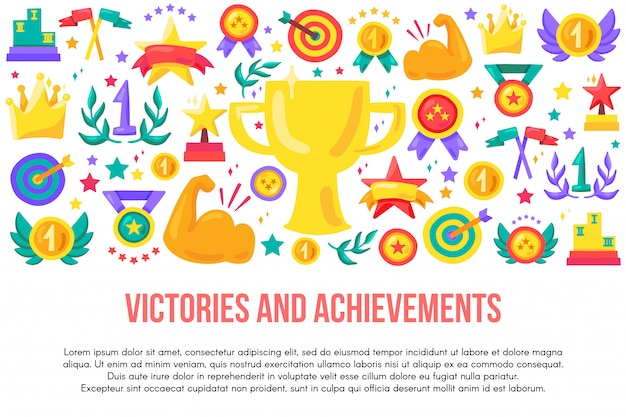 Zwycięstwa i osiągnięcia płaski szablon transparent