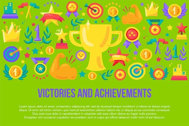 Zwycięstwa i osiągnięcia szablon płaski transparent. konkurs ręcznie rysowane plakat z miejscem na tekst