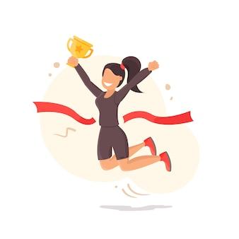 Zwycięstwo. dziewczyna raduje się zwycięstwem i trzyma kubek