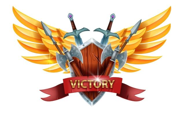 Zwycięstwo gra projekt interfejsu użytkownika znak zwycięzca nagroda osiągnięcie ikona rycerz miecz średniowieczny topór drewniana tarcza
