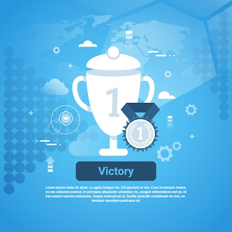 Zwycięstwo koncepcja biznesowa web banner z miejsca kopiowania