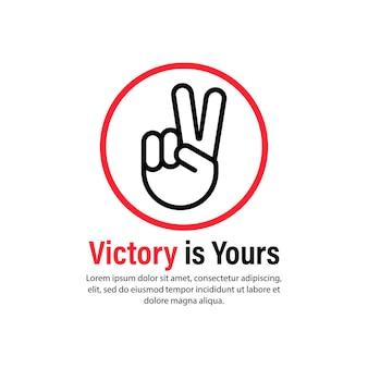 Zwycięstwo to twoja ikona. gest ręki. wektor na na białym tle. eps 10.