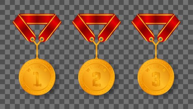 Zwycięstwo złotym medalem ze wstążkowym wieszakiem
