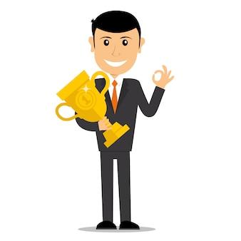 Zwycięzca biznesmen charakter. pierwszy zwycięzca trzyma trofeum. pomysł na biznes. ilustracja.