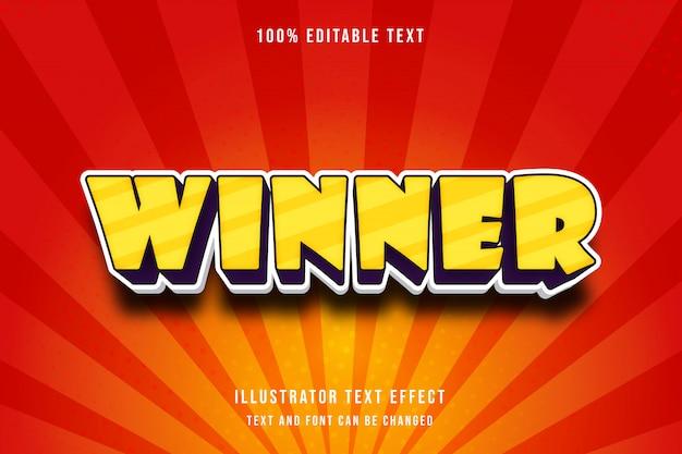 Zwycięzca, edytowalny efekt tekstowy 3d, żółty, fioletowy nowoczesny komiksowy cień