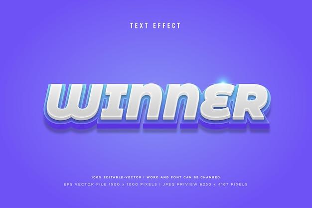 Zwycięzca efekt tekstowy 3d na fioletowym tle