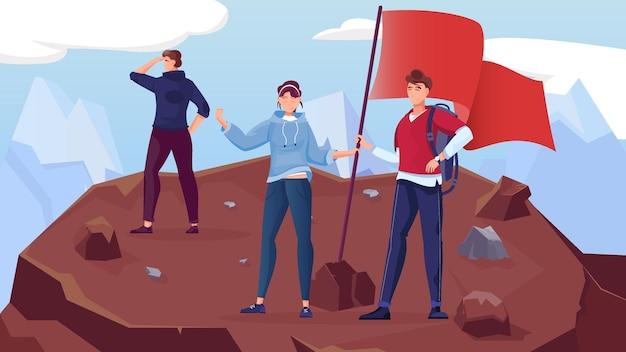 Zwycięzca górskiej płaskiej kompozycji z góralską scenerią i ludzkimi postaciami w stylu doodle sadząc flagę na szczytowej ilustracji