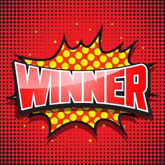 Zwycięzca. komiksowa mowa czerwona bańka