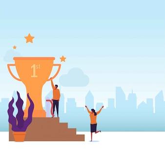 Zwycięzca konkursu płaski wektor koncepcja para dostać trofeum za wygraną w konkursie.