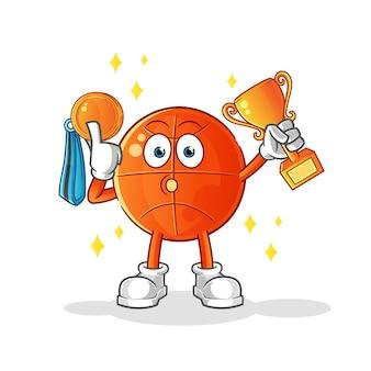 Zwycięzca koszykówki z pucharem i medalem. postać z kreskówki