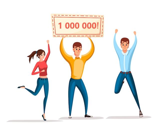 Zwycięzca loterii. kobiety i mężczyźni stoją ze zwycięskim sztandarem, 1000000. szczęśliwi ludzie. wygraj milion. postać z kreskówki . ilustracja na białym tle