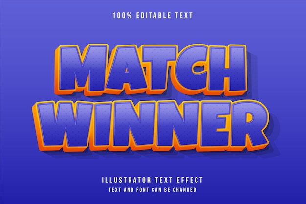 Zwycięzca meczu, efekt edytowalnego tekstu 3d fioletowy gradacja żółty pomarańczowy komiks stylu