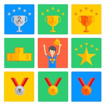 Zwycięzca medal trophy cup i podium