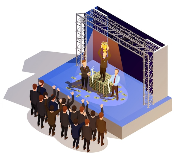 Zwycięzca nagrody biznesowej podium izometryczny obraz izometryczny