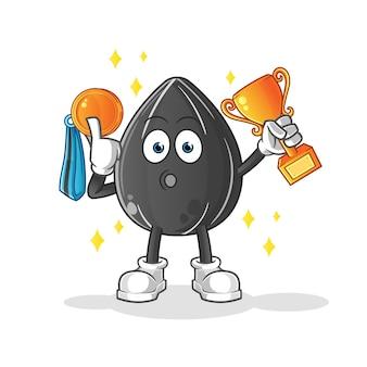 Zwycięzca nasion słonecznika z trofeum. postać z kreskówki