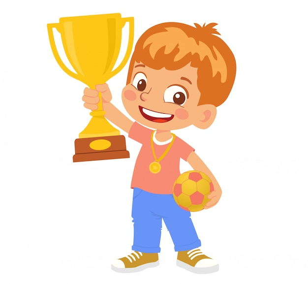 Zwycięzca piłkarz chłopiec