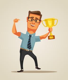 Zwycięzca postaci biznesmen. ilustracja kreskówka płaska