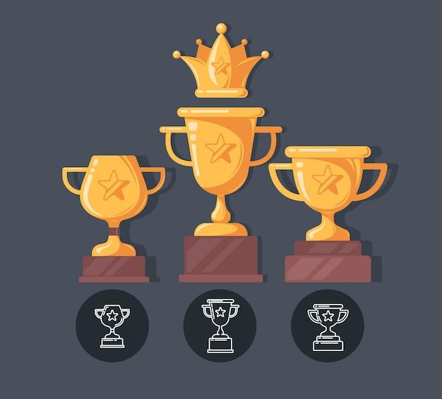 Zwycięzca pucharu płaskie ikony. ilustracja nagrody w stylu kreskówki.