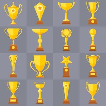 Zwycięzca trofeum złote kubki płaskie wektorowe ikony dla koncepcji zwycięstwo sportowe. nagroda sportowa i nagroda, ilustracja puchar trofeum