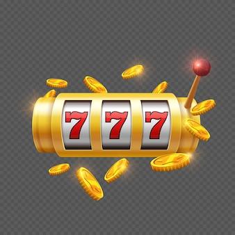 Zwycięzca uprawia hazard z automat do gier na białym tle
