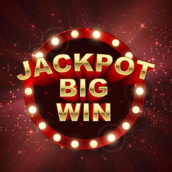 Zwycięzca w kasynie jackpot. duży baner wygranej. retro szyld na czerwonym tle z promieni świetlnych. ilustracja wektorowa