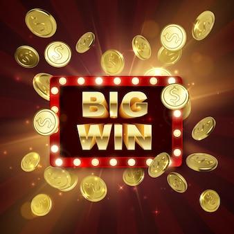 Zwycięzca w kasynie jackpot. duży baner wygranej. retro szyld z spadającymi złotymi monetami. ilustracja wektorowa