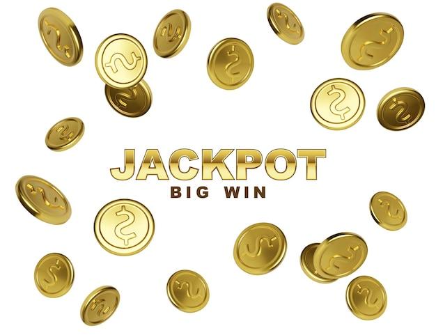 Zwycięzca w kasynie jackpot. wygraj duży sztandar z spadającymi złotymi monetami na białym tle. ilustracja wektorowa