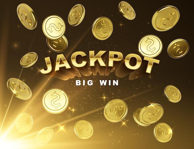 Zwycięzca w kasynie jackpot. wygraj duży sztandar z spadającymi złotymi monetami na ciemnym tle z promieniami światła. ilustracja wektorowa