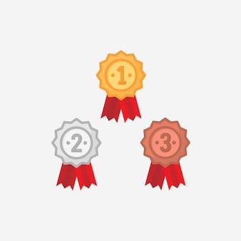 Zwycięzca wstążka lub wektor medal w płaska konstrukcja